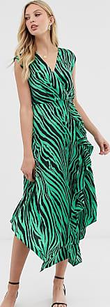 Warehouse midi dress with cowl back in zebra print-Green