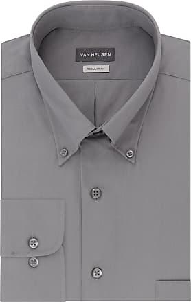 Van Heusen mens13V0113Dress Shirts Regular Fit Silky Poplin Solid Button-Down Collar Long Sleeves Dress Shirt - Gray - XXXL