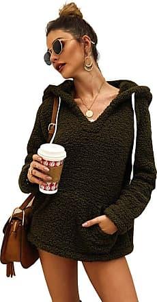YYW Women Winter Plush Fuzzy Drawstring V Neck Sweatshirts Sherpa Fleece Outwear Hoodies Sweatshirt Pullover Tops with Pockets (Army Green,M)