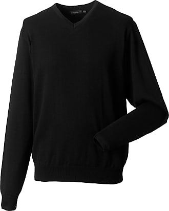 Russell Athletic Russell Collection Mens V-Neck Knitted Pullover Sweatshirt (3XL) (Black)