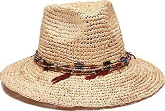 ále by Alessandra Womens Jurere Crochet Raffia Fedora with Chain and Feather, Natural, One Size