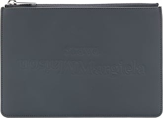 Maison Margiela logo leather clutch - Preto