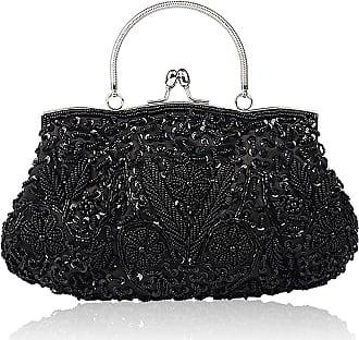 YYW Collection Antique Floral Seed Bead Sequin Soft Clutch Evening Bag Designer Purse Large Clutch Handbag (Black)(Size: One Size)