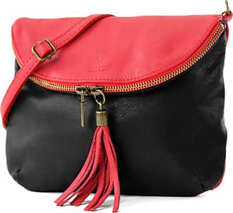 modamoda.de Ital. Leather Bag Clutch Shoulder Bag Underarm Bag Shoulder Bag Girl Small nappa leather T07, Colour:Black red