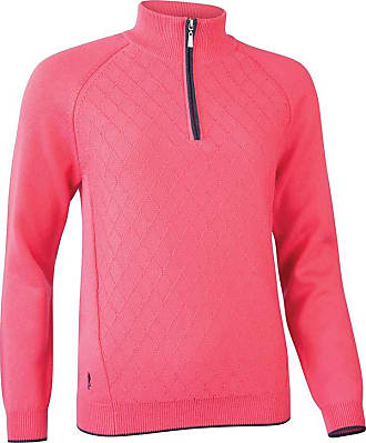 Glenmuir Ladies LKC2621ZN Zip Neck Argyle Stitch Touch of Cashmere Golf Sweater Daiquiri/Navy Marl M