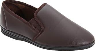 Zedzzz Mens Brown Grain PU Twin Gusset Slipper - Ivor - Brown - size UK Mens Size 10