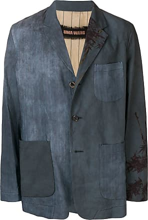 Uma Wang blue bamboo print blazer