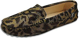 MGM-Joymod Womens Rubber Sole Slip-on Casual Comfortable Gold Leopard Leather Driving Loafers Flats Outdoor Hiking Slide Boat Shoes 4.5 M UK