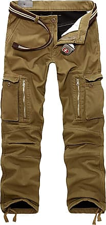 junkai Mens Polar Fleece Trousers Thicken Winter Lined Warm Pants Cargo Combat Warm Pants mid Waist Regular fit Workwear Khaki