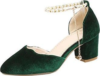 8b9aaba840 Aiyoumei Knöchelriemchen Pumps mit Blockabsatz und Perlen Velvet Schuhe mit  Kleinem Absatz 6 cm Bequem