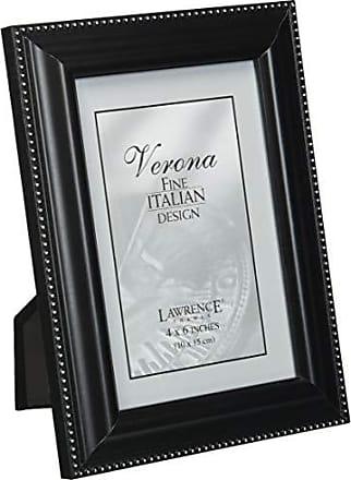 Lawrence Frames Black Wood 4x6 Picture Frame - Silver Bead Design