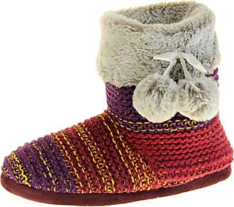 Footwear Studio Dunlop Womens Plum Gold Slipper Boots UK 7-8