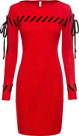 51a7e2bb717d BODYFLIRT boutique Dam Stickad klänning i röd lång ärm - BODYFLIRT boutique