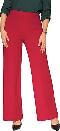 Krisp 3094-RED-12: High Waist Wide Leg Trousers