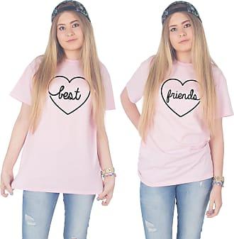 Sanfran Clothing Sanfran - Best Friends Top Funny Matching Besties BFF Heart T-Shirt - Medium & Small/Light Pink