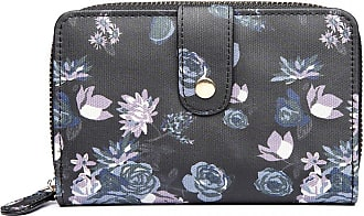 Craze London Women Clutch Long Purse with Zipper Pocket Girls Small Purse Printed Card Holder Coin Wallet (Small Floral Black)