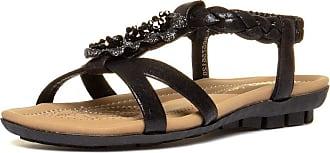 Lotus Margarita Womens Flat Sandals 4 UK Black