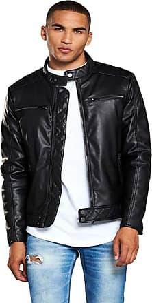 River Island River Island McQueen PU Racer Jacket Black Size M RRP £120