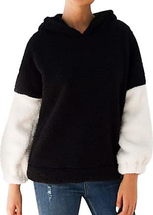 Dresswel Women Color Block Fuzzy Teddy Fleece Hoodie Pullover Hooded Sweatshirt Jumpers Hoody Coat Black