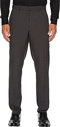 Perry Ellis Mens Slim Fit Mechanical Stretch Tonal Plaid Dress Pant, Charcoal 32x32