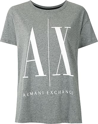 A|X Armani Exchange T-shirt com logo estampado - Cinza