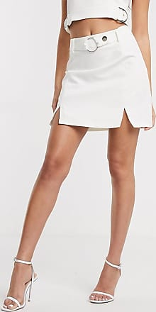 4th & Reckless tailored skirt with buckle detail in white