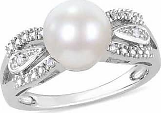Zales 9.0 - 9.5mm Cultured Freshwater Pearl and 1/20 CT. T.w. Diamond Ring in Sterling Silver