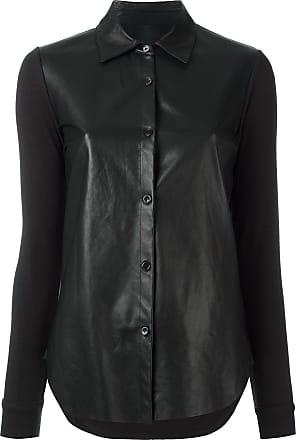 Majestic Filatures Camisa com recorte de couro - Preto