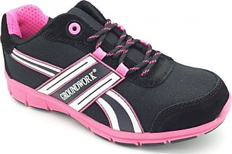 Groundwork Womens Ladies Steel Toe Cap Lightweight Safety Trainers (7 UK 41 EU, Black/Pink)