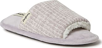 Dearfoams Womens Lane Knit Slide Slipper, Frosted Plum, Medium