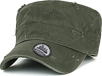 Ililily Solid Color Distressed Cotton Cadet Cap Vintage Military Army Style Hat, Olive Green, Medium