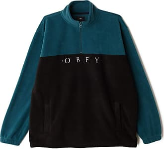 Obey Channel Mock Neck Fleece Black Deep Teal Black S