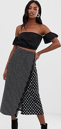 Y.A.S. Tall Pieza mixed polka dot wrap skirt-Black