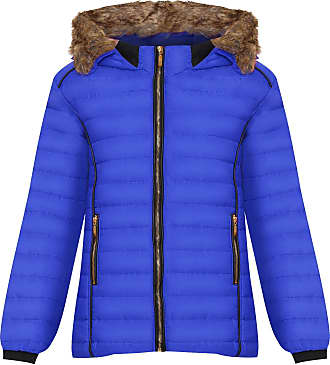 Top Fashion18 Ladies Plus Faux Fur Collar Hood Puffer Jacket Ladies Long Sleeve Coat Zip Pocket Hood UK Size 8-28 Royal Blue