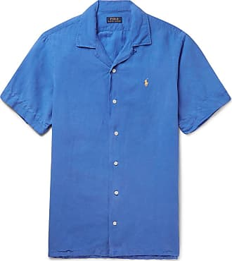 Polo Ralph Lauren Camp-collar Linen, Tencel And Cotton-blend Shirt - Blue