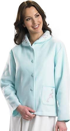 Slenderella Ladies Soft Polar Fleece Button Up Bed Jacket Floral Embroidered Detail House Coat UK 16/18 (Mint Green)