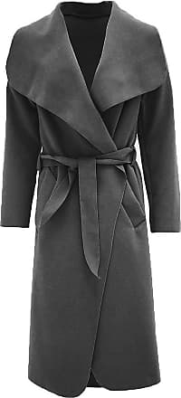 Parsa Fashions Malaika Womens Ladies Waterfall Long Full Sleeves Cape Cardigan Belted Jacket Trench Coat - Available in PLUS SIZES UK 8-20 (Plus Size (UK 20-22), Dar