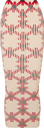 Paco Rabanne Printed Ribbed Cotton-blend Maxi Skirt - Red