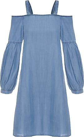 Shoulder Vestido Jeans Ombro A Ombro Shoulder - Azul
