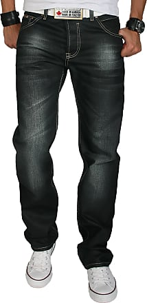 Rock Creek Mens Designer Denim, Waxed, Coated Stonewashed Jeans, RC-2064 - Black - W38