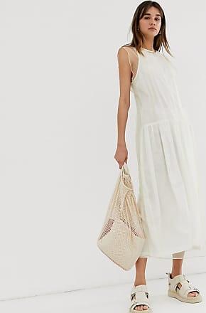 Weekday limited edition mesh midi dress in beige