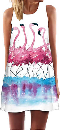 Ocean Plus Womens Summer Casual Top Flamingo A-Line Sleeveless Dresses Leaves Cover-up Western Without Sleeves Beach Dress Party Dress (XXL (UK 16-18), Ink Paint