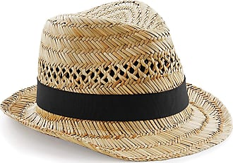 Beechfield Unisex Tearaway Fabric Label Hand Made Straw Summer Trilby Natural Size L/XL