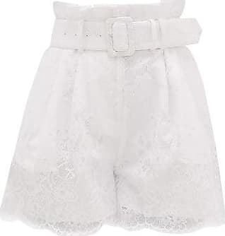 Self Portrait Self-portrait - High-rise Belted Lace-overlay Shorts - Womens - White