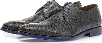 Floris Van Bommel Schwarzer Leder-Schnürschuh mit Print, Business Schuhe, Handgefertigt