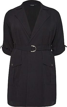 Yours Clothing Clothing Womens Crepe Duster Jacket Utility Belted UK Plus Size Size 18 Black