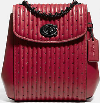 Coach Parker Convertible Backpack 16 With Quilting And Rivets in Red