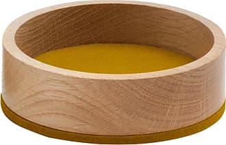 Hey-Sign Bowl Holzschale S - Filz senfgelb/Filz in 5mm Stärke/H 4.5cm / Ø 13.5cm/Eiche massiv geölt