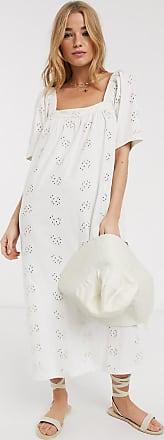 Asos Halflange zomerse midi-jurk van broderie met vierkante halslijn in crème