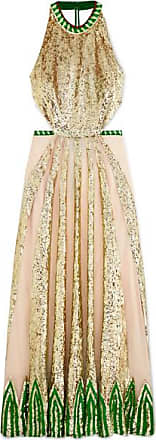 9ee93b4d9cb Temperley London Sycamore Embroidered Sequined Chiffon And Tulle Halterneck  Gown - Cream